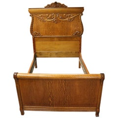 Antique Acanthus Carved Quarter Sawn Oak Double Bed Frame, 19th Century