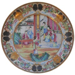 Very Fine Canton Medallion Court Scene Plate