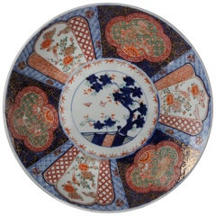 Antique Hand-Painted Porcelain Imari Charger, Animals and Bonsai, 20th Century