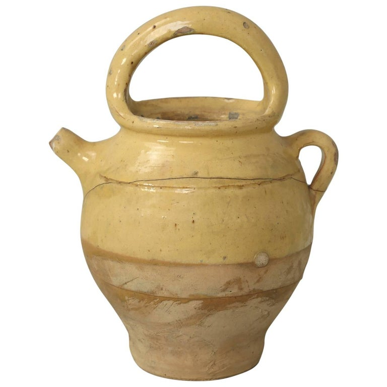 Antique French Pottery Jug with Handle