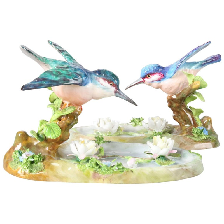 Pair of Antique English Staffordshire Porcelain J. T. Jones King Fishers For Sale