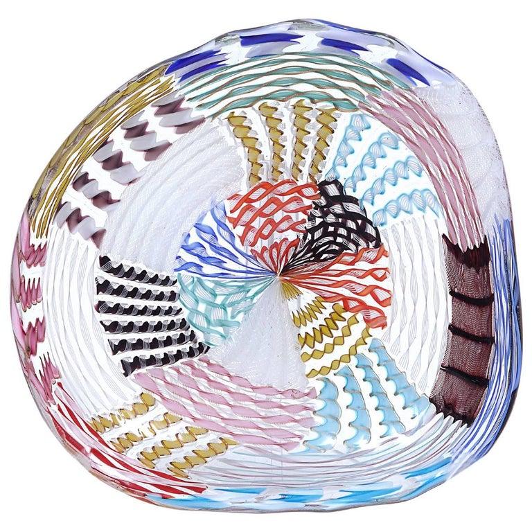 Archimede Seguso Murano Glass Multicolor Bowl circa 1950