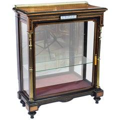 Antique Victorian Amboyna and Ebonized Pier Cabinet, 19th Century