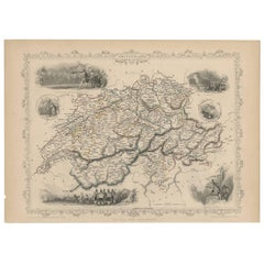 Antique Map of Switzerland by J. Tallis, circa 1851