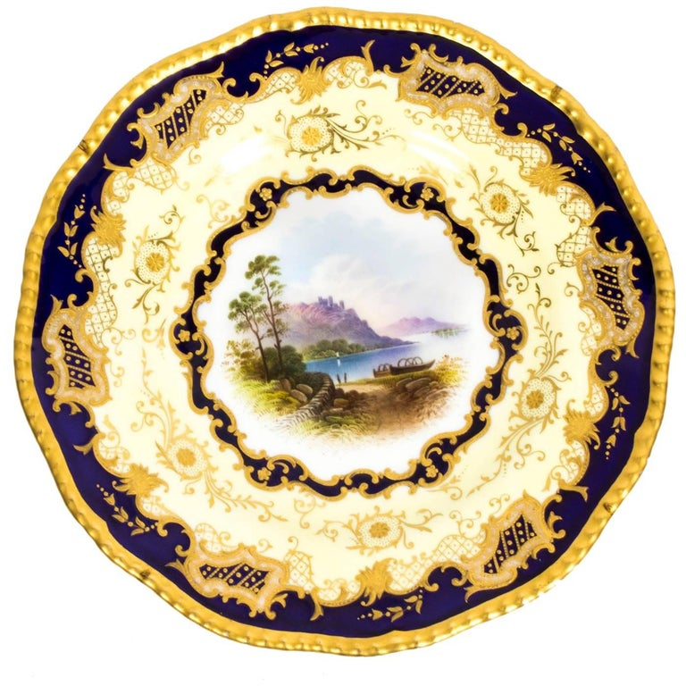 Antique Coalport Porcelain Plate Lake Menteith, 1891 For Sale