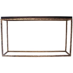 Hammered Frame Console with Zinc Top