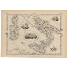 Antique Map of Southern Italy by J. Tallis, circa 1851