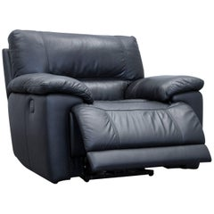 Designer Armchair Leather Black One-Seat Couch Electrical Function Modern Relax