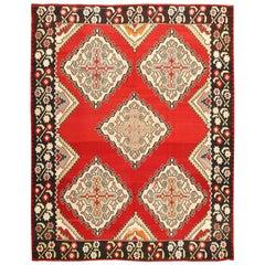 Vintage Red Background Turkish Kilim Rug