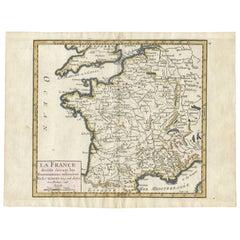 Antique Map of France by G. R. de Vaugondy, 1748