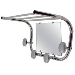 Midcentury French Industrial Aluminium Coat and Hat Rack with Mirror, 1950s