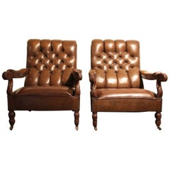 Pair of 19th Century Leather Armchairs