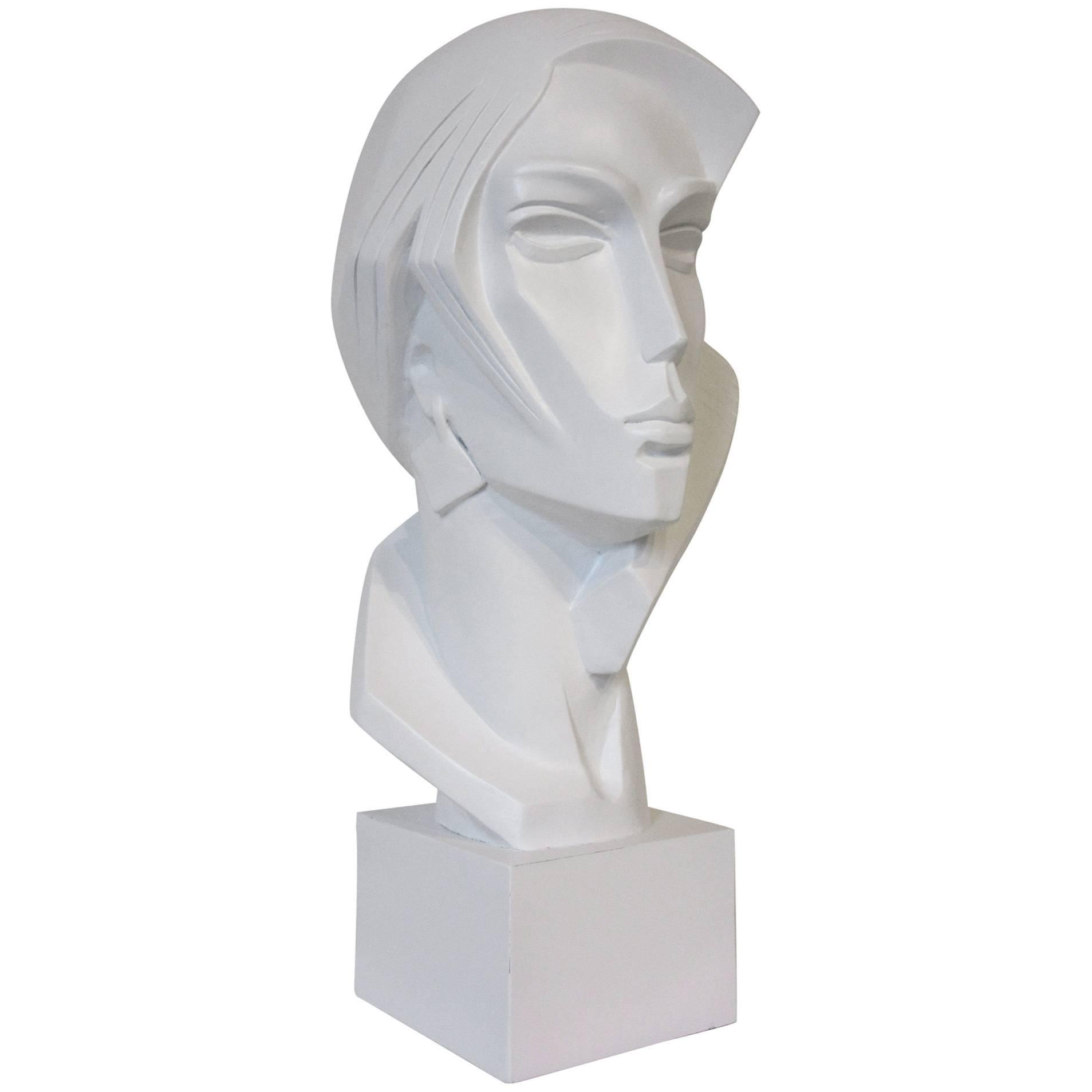 1980s Large Female Head Sculpture by Austin