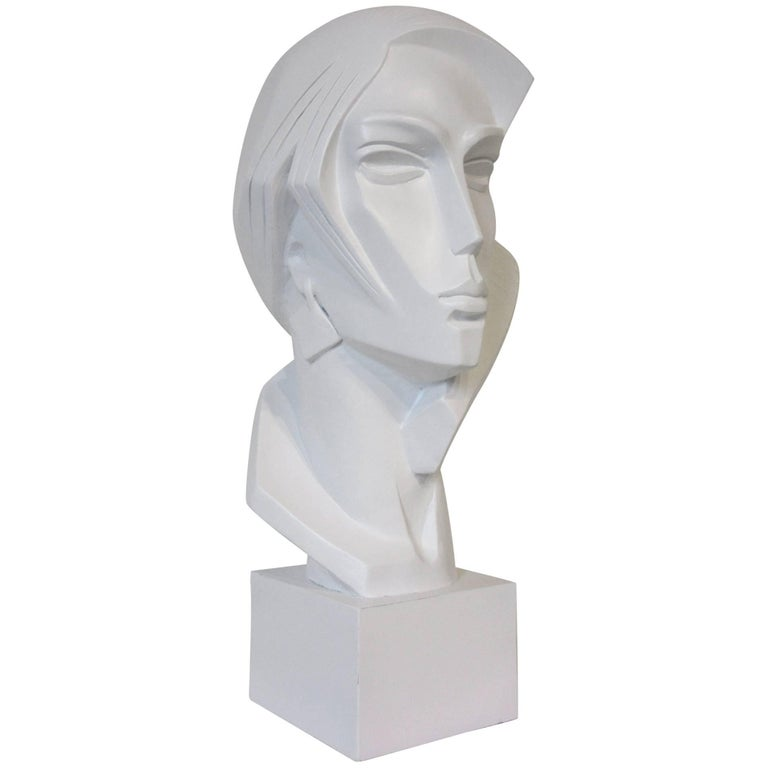 1980s Large Female Head Sculpture by Austin