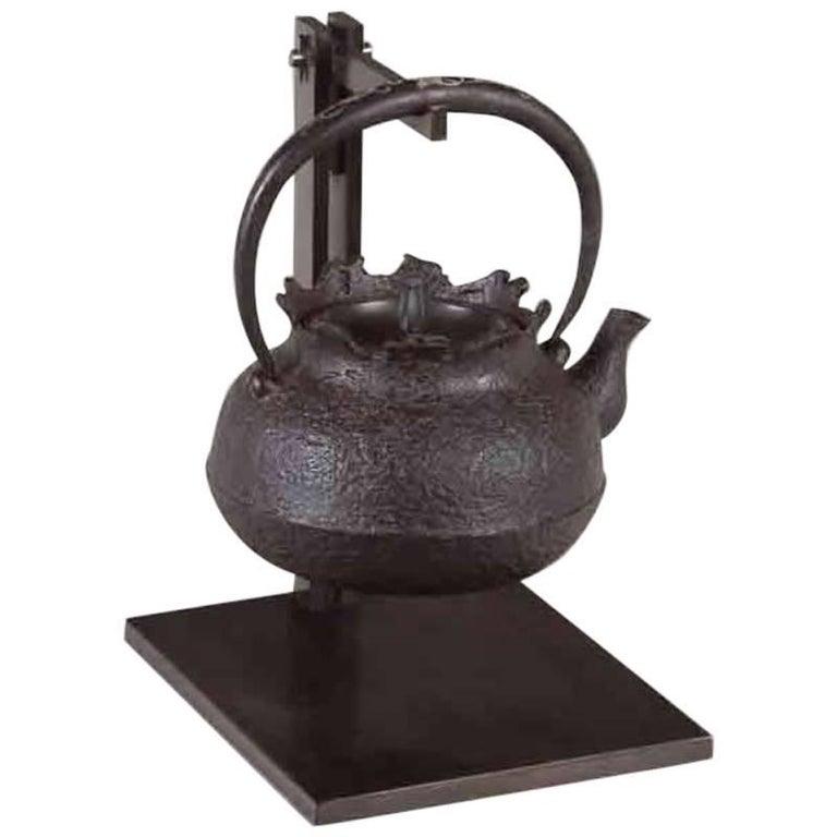 Tetsubin Iron Bronze Brown Water Kettle Japan Meiji