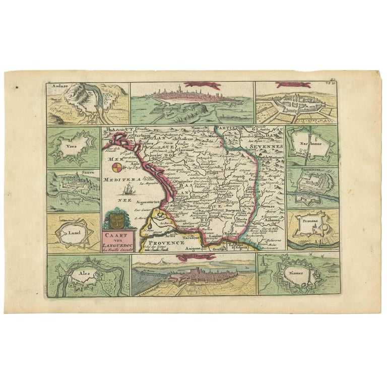 Antique Map of the Languedoc Region 'France' by D. Weege, 1753