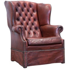 Chesterfield Armchair Leather Brown One Seat Couch Retro Vintage