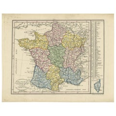Antique Map of France by F. Bohn, circa 1816