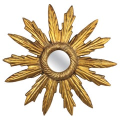 Unusual Baroque Giltwood Mini Sunburst Mirror with Paired Beams, France, 1930s