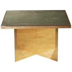 Verdi Deco Coffee Table in Polished Brass and Green Slate by Novocastrian