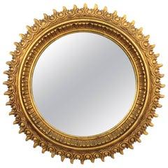 Francisco Hurtado Wood Carved Giltwood Large Sunburst Mirror, Spain, 1950s