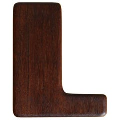 Carl Auböck III, 1960s, Alphabetical 'L' Shaped Walnut Clothes Brush