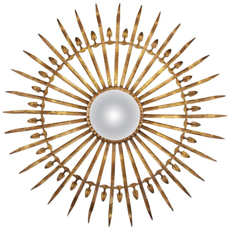 Spanish 1950s Hollywood Regency Large Gilt Iron Convex Sunburst Mirror