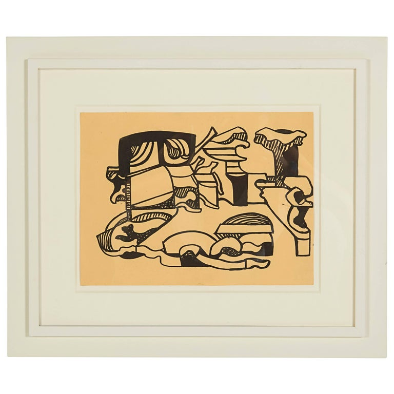 """Nell Blaine """"Untitled"""" India Ink on Paper, USA, 1948"""