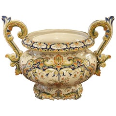 Antique French Urn, Decor Rouen, circa 1910