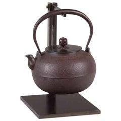 Tetsubin Iron Bronze Brown Water Kettle Japan Meiji Ruyundo Ihada Texture Signed