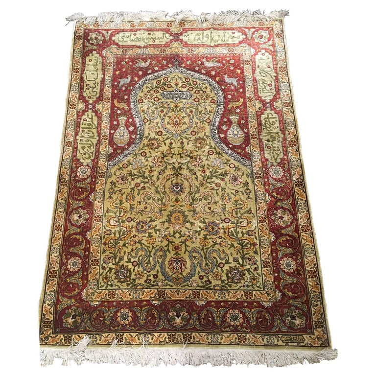 Antique Turkish Silk Rug: Hereke Silk Rug With Islamic Calligraphy Signed By Hereke