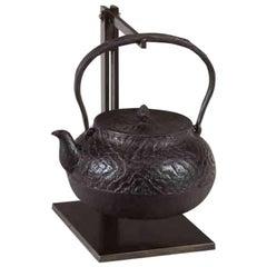 Tetsubin Iron Bronze Brown Kettle Japan Meiji Wood Grain Pattern Solid Handle