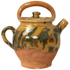 French Pottery Jug with Handle with Lid