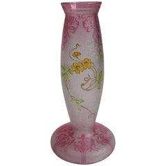 Art Nouveau Baccarat Crystal Cameo and Enamel Vase