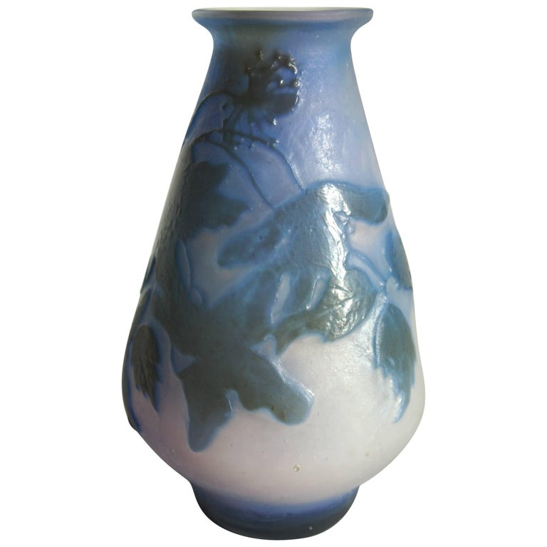 Art Nouveau Emile Galle Fire Polished Cameo Vase For Sale At 1stdibs