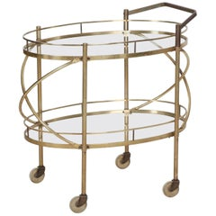 Vintage 1960s Oval Brass and Glass Two-Tier Server Bar Cart Trolley