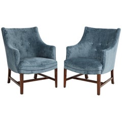 Pair of Frits Henningsen Upholstered Armchairs, circa 1940s