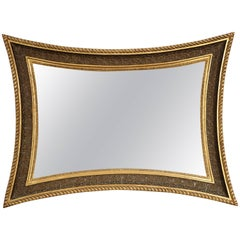 Danish Giltwood and Painted Concave Sided Mirror, circa 1860s