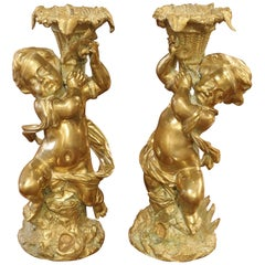 Gilt Bronze Putti Candlestick Holders from France, circa 1850