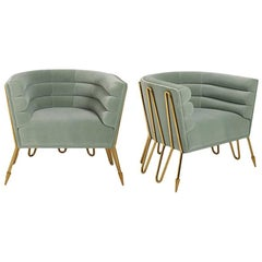 Maxime Brass and Velvet Club Chair
