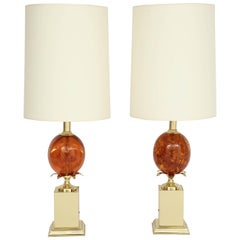 Pair of Amber Colored Resin Lamps