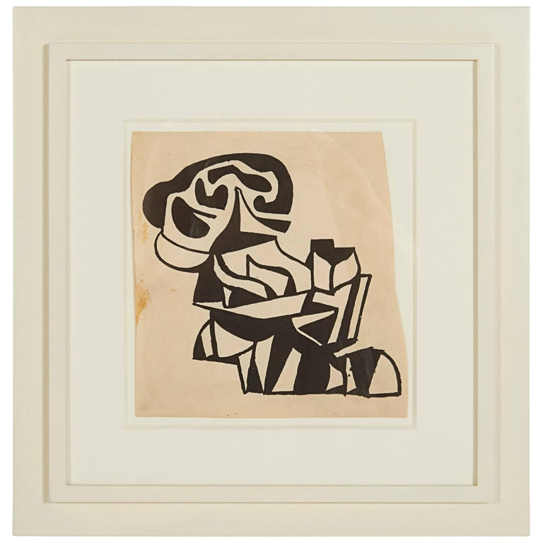 Nell Blaine Abstraction India Ink on Paper, USA, 1948