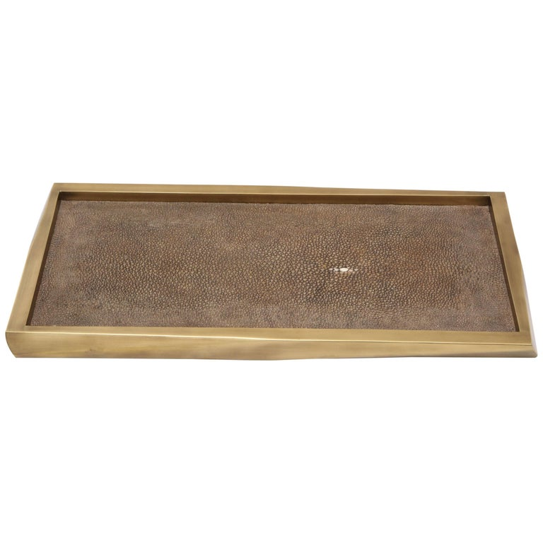 Shagreen Tray with Bronze Details, Offered by Area ID