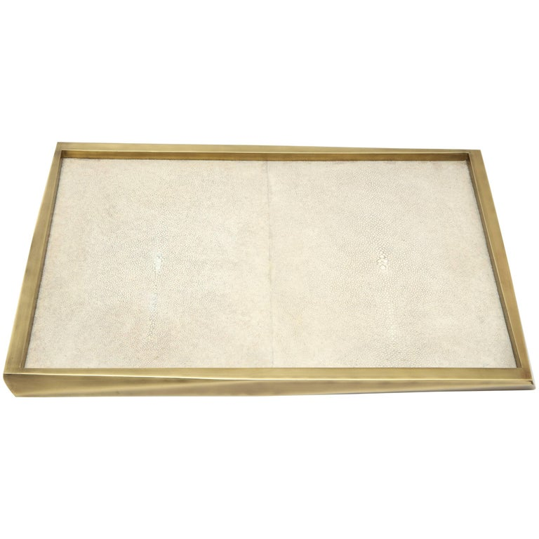 Shagreen Tray with Bronze Details, Offered by Area ID For Sale