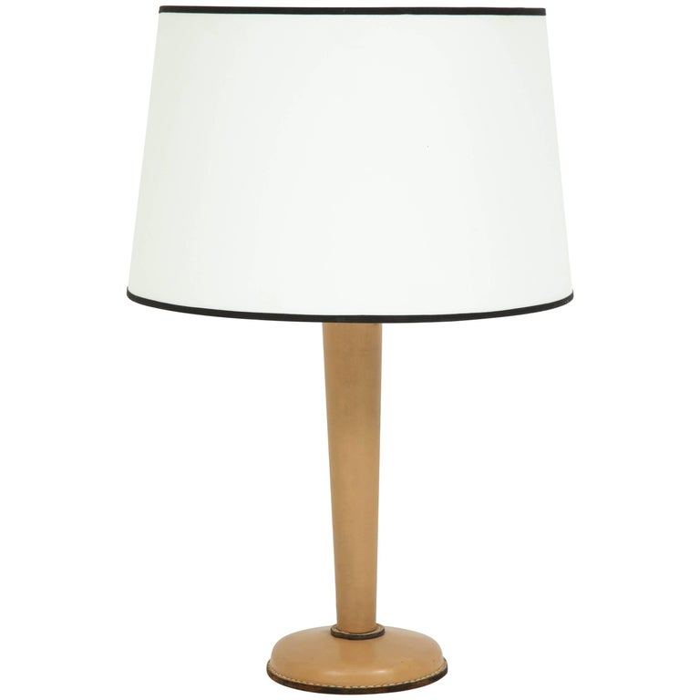 Large Jacques Adnet Table Lamp in Stitched Leather For Sale