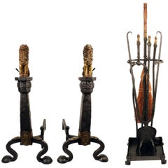 Pair of Arts & Crafts Brass and Wrought Iron Andirons with Matching Tools