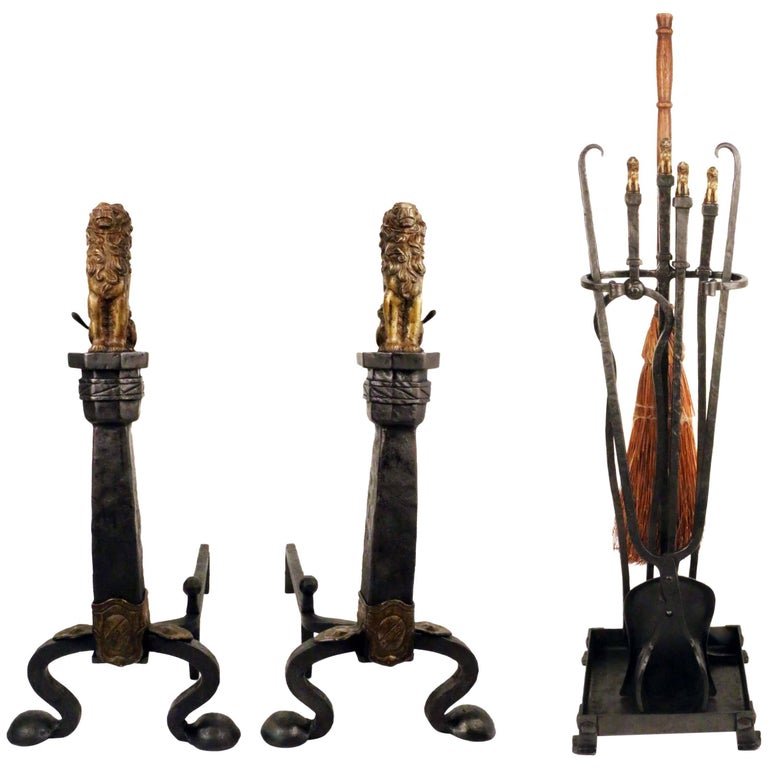 Pair of arts and crafts brass and wrought iron andirons for Arts and crafts tools