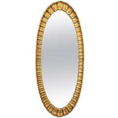 Spanish 1950s Hollywood Regency Francisco Hurtado Carved Giltwood Oval Mirror