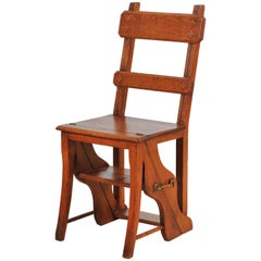 Metamorphic Oak Arts & Craft Library Step/Chair