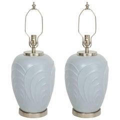 Paul Hanson Periwinkle Glazed Porcelain Lamps
